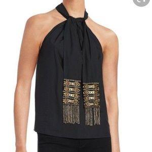 Kobi Halperin black halter embellished top L